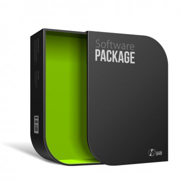 Opened Modern Black Software Package Box With Rounded Corners Green Inside. With DVD Or CD Disk For Your Product.