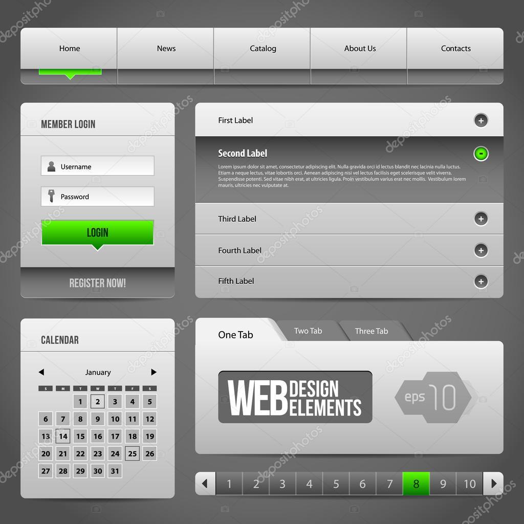 Moderne saubere Website Design-Elemente grau grün grau 3: Buttons ...
