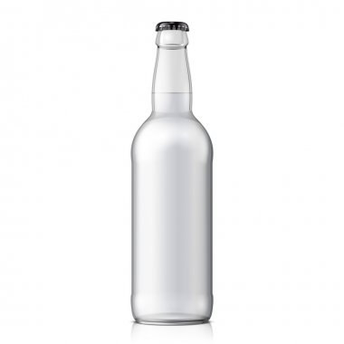 Mock Up Glass Beer Clean Bottle On White Background Isolated. Ready For Your Design. Product Packing.