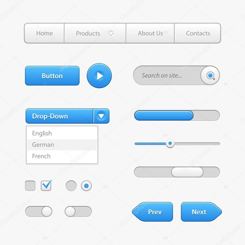 Blaues Licht Steuerelemente der Benutzeroberfläche. Web-Elemente ...