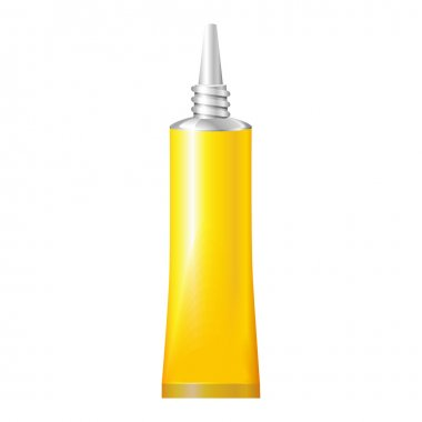 Yellow Tube Of Super Glue. Products On White Background Isolated. Ready For Your Design. Product Packing. Vector EPS10