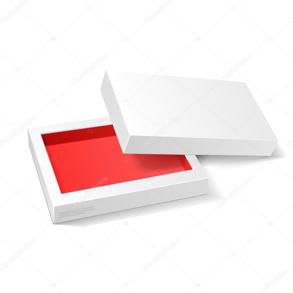 opened white red cardboard package mock up box gift candy on white
