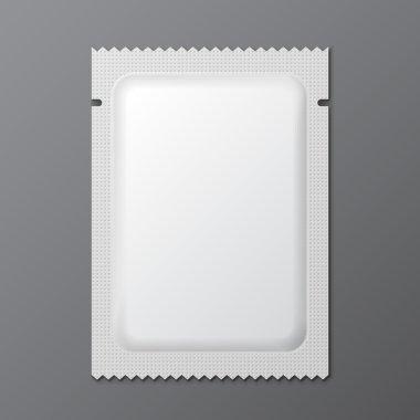 White Blank Retort Condom Wrapper. Foil Pack Template Ready For Your Design. Vector EPS10
