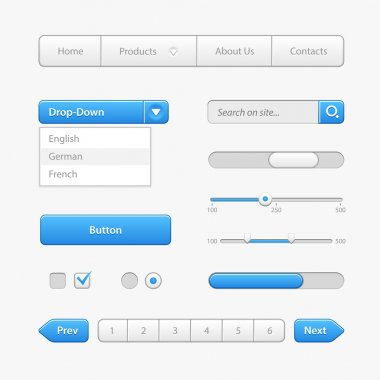 Blue Light User Interface Controls. Web Elements. Website, Software UI: Buttons, Switchers, Arrows, Drop-down, Navigation, Menu, Check Box, Radio, Scroller, Progress Bar, Pagination, Input Search