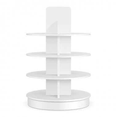 White Round POS POI Cardboard Floor Display Rack For Supermarket Blank Empty Displays With Shelves Products On White Background Isolated. Ready For Your Design. Product Packing. Vector EPS10