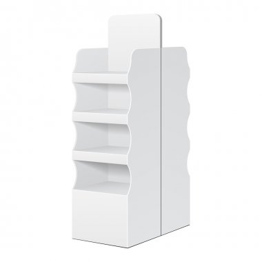 Two Side White POS POI Cardboard Floor Display Rack For Supermarket Blank Empty Displays With Shelves Products On White Background Isolated. Ready For Your Design. Product Packing. Vector EPS10