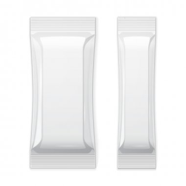 Two White Blank Foil Packaging Sachet Coffee, Salt, Sugar, Pepper Or Spices Stick Plastic Pack Ready For Your Design. Snack Product Packing Vector EPS10