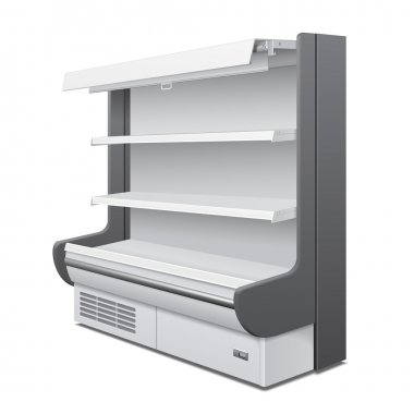 Cooled Regal Rack Refrigerator Wall Cabinet Blank Empty Showcase Displays. Retail Shelves. 3D Products On White Background Isolated. Mock Up Ready For Your Design. Product Packing. Vector EPS10