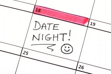 A date night highlighted on a Calendar. stock vector