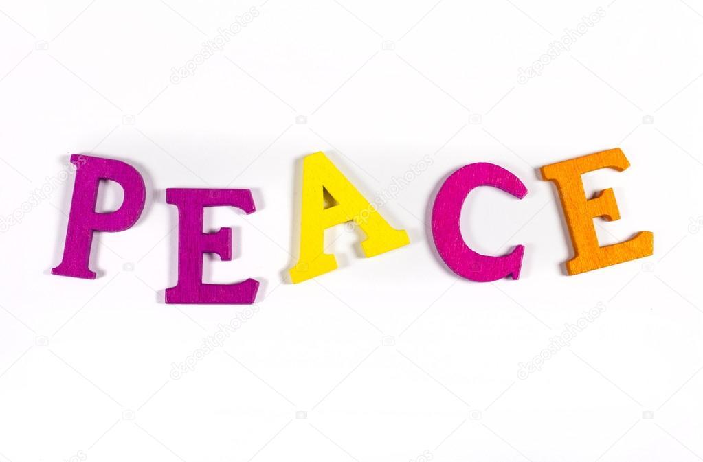 Farbige Buchstaben das Wort Frieden Rechtschreibung — Stockfoto ...