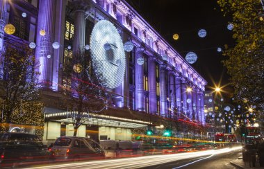Selfridge on Oxford Street at Christmas