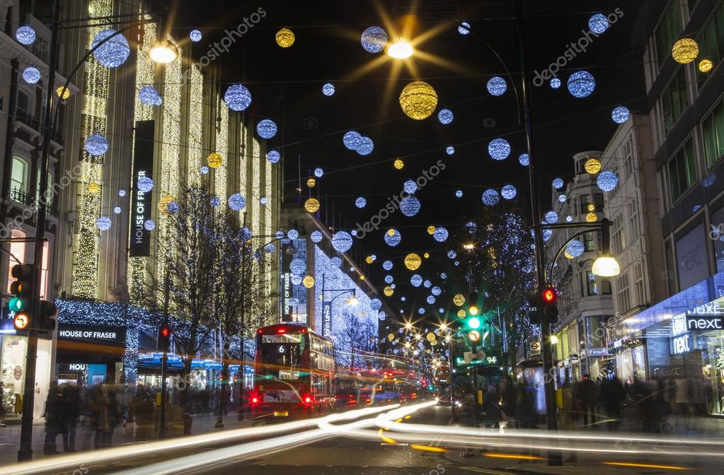 Oxford Street Weihnachtsbeleuchtung.Oxford Street Christmas Lights In London Stock Editorial Photo