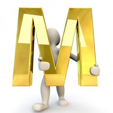 3D Human character holding golden alphabet letter M
