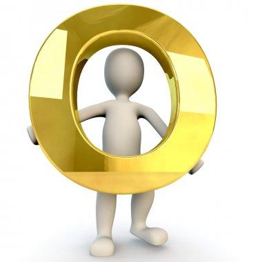 3D Human character holding golden alphabet letter O