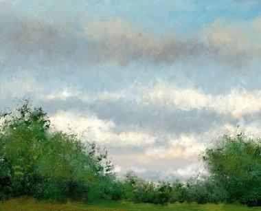 "Картина, постер, плакат, фотообои ""пейзаж маслом, туманное утро в лесу все"", артикул 443575726"
