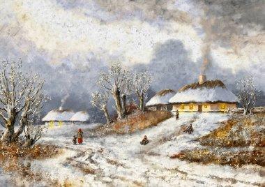 """Картина, постер, плакат, фотообои """"картины зимний пейзаж, изобразительное искусство, дом в снегу, старая деревня. сельский пейзаж. картина"""", артикул 445356852"""