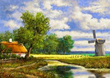 """Картина, постер, плакат, фотообои """"живопись маслом сельский пейзаж, старая деревня, дом в лесу. искусство, искусство, ветряная мельница в стране картина цветы"""", артикул 445884928"""