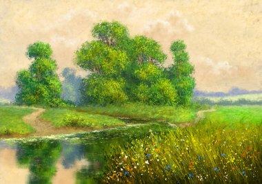 """Картина, постер, плакат, фотообои """"шедевр, картины маслом сельский пейзаж с деревьями и водой, река. летний пейзаж, произведения искусства, изобразительное искусство. абстракция пейзаж морской"""", артикул 449734690"""