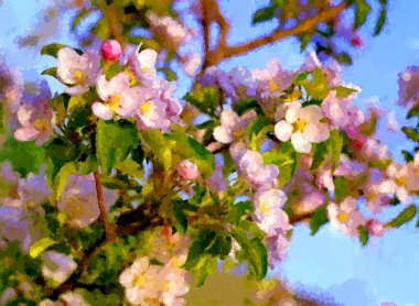 "Картина, постер, плакат, фотообои ""пейзаж, цветение сакуры весной стиль"", артикул 452943198"