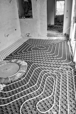 Underfloor heating and cooling indoor climate control for thermal comfort using conduction radiation and convection in black and white stock vector