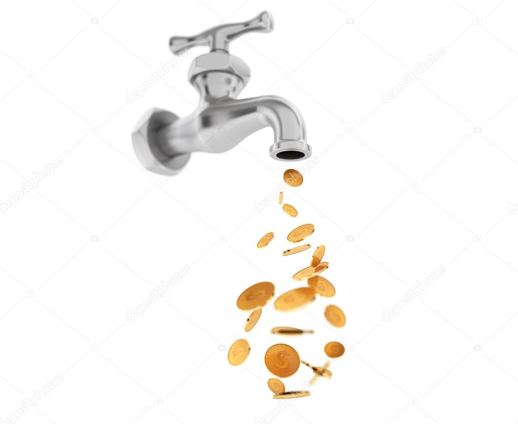 Golden Coin Coming Out From Chrome Water Tap — Stock Photo © doomu ...