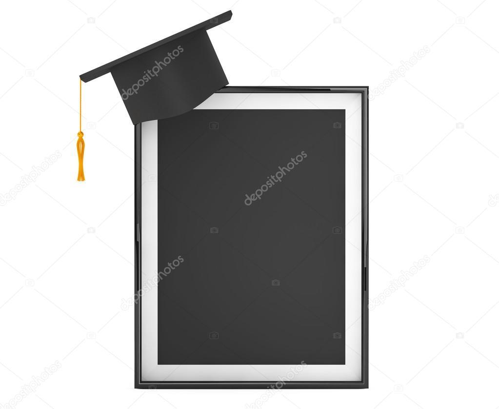 Akademische Abschlussfeier Cap mit leeren Bilderrahmen — Stockfoto ...