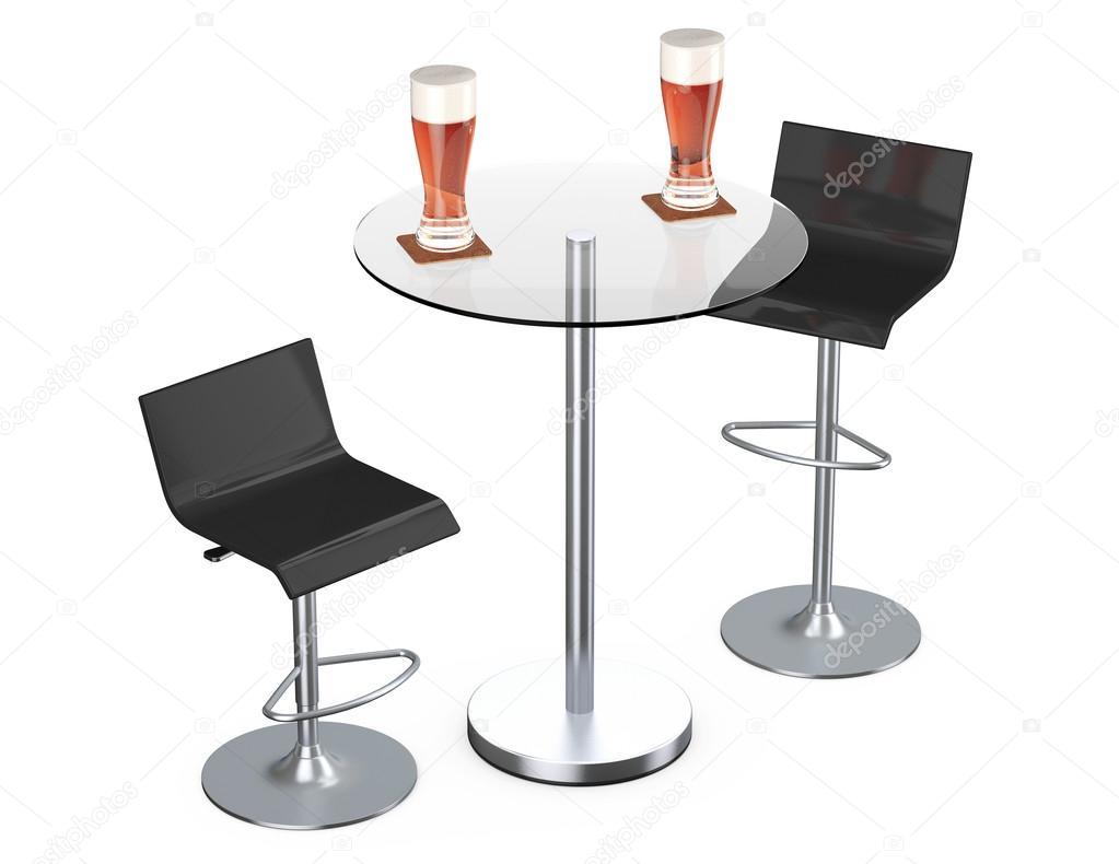 Black bar sgabelli vintage con tavolo e bicchieri di birra u foto