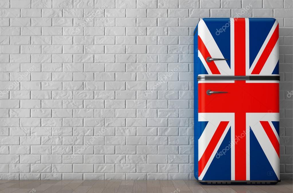 Retro Kühlschrank Usa : Retro kühlschrank mit der britischen flagge d rendering