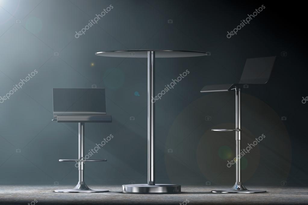 Black bar sgabelli vintage con tavolo rendering d u foto stock