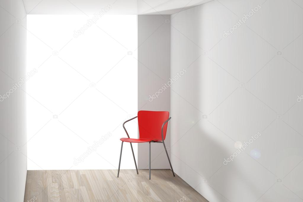 Red Chair in the Room with Sunlight. 3d Rendering
