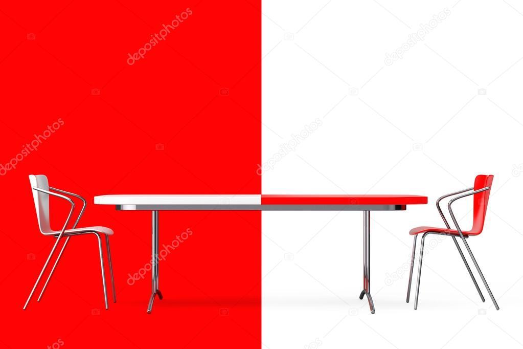 Concept de confrontation noir et blanc chaises et un bureau