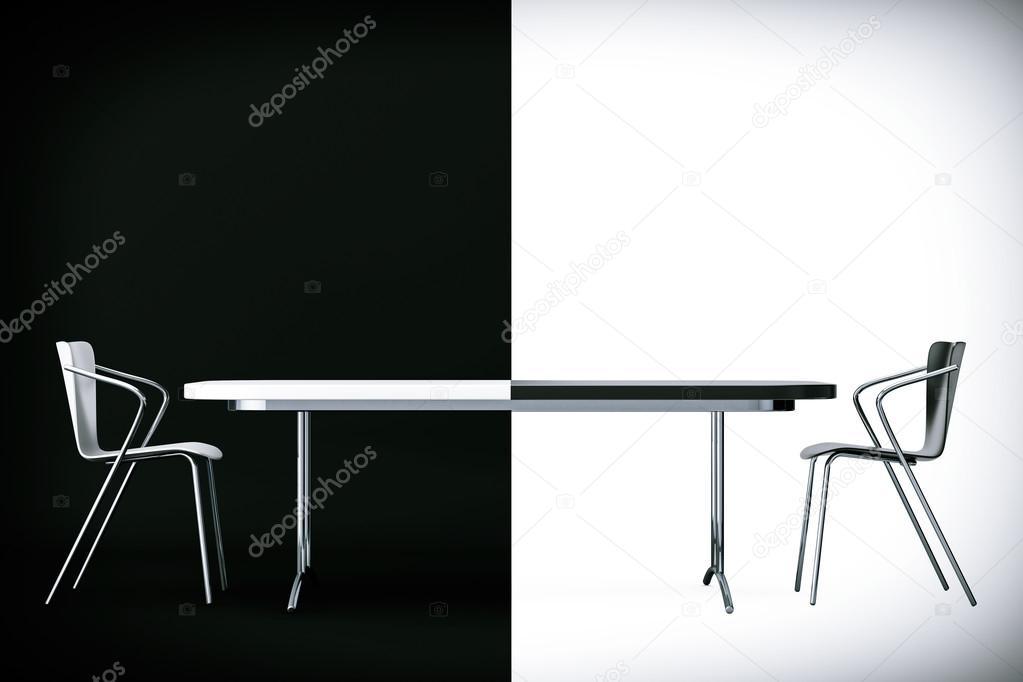 Concept de confrontation. noir et blanc chaises et un bureau. rende