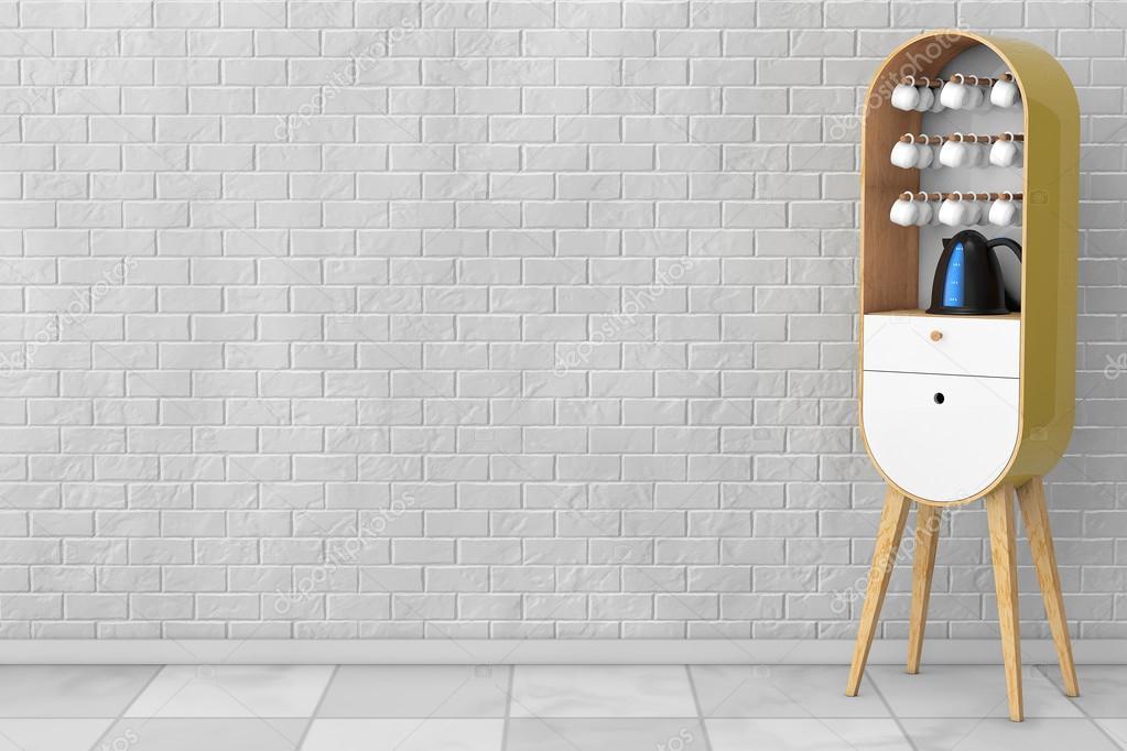 Vintage Möbel Aus Holz Küche Mit Wasserkocher Und Tassen. 3D Renderin U2014  Stockfoto