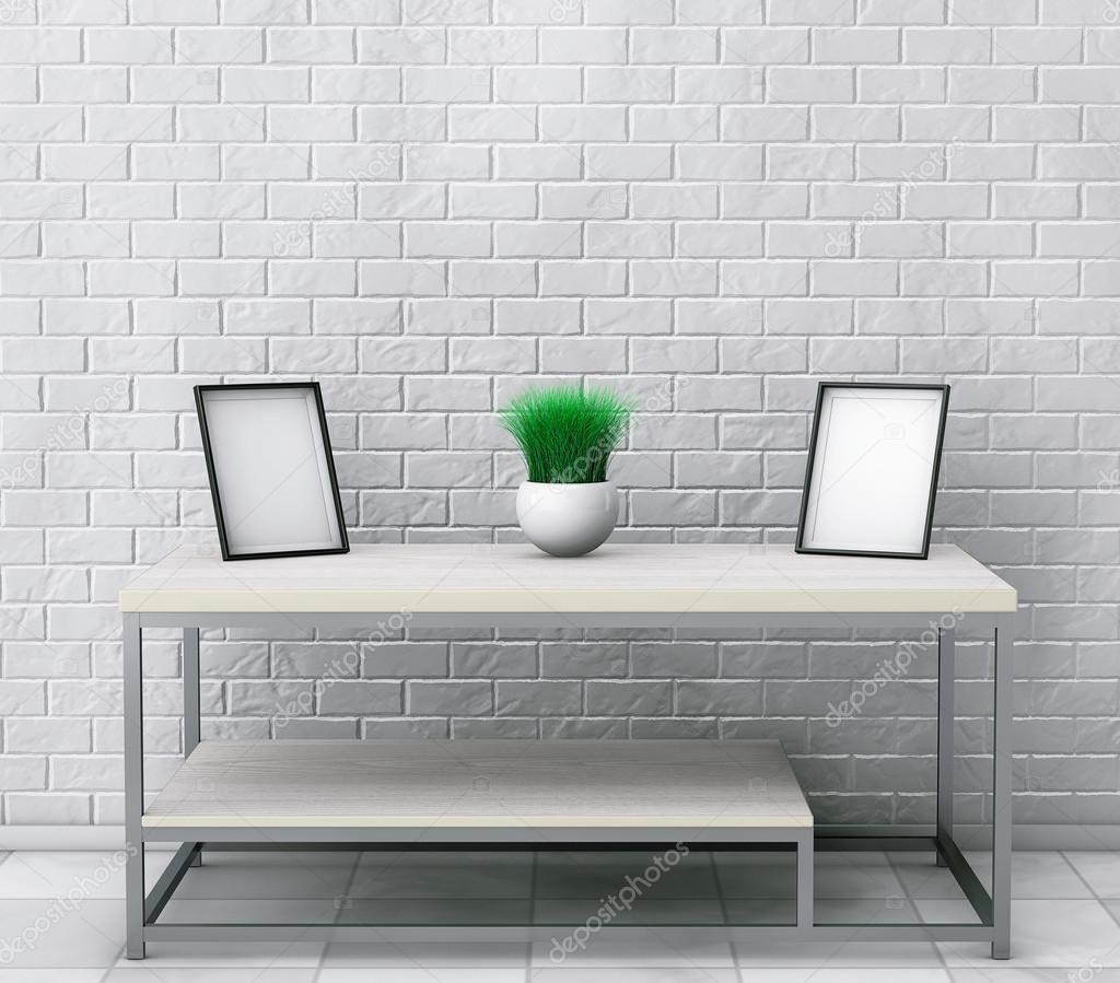 Cóctel de madera sencilla y mesa de centro con marcos de fotos en ...