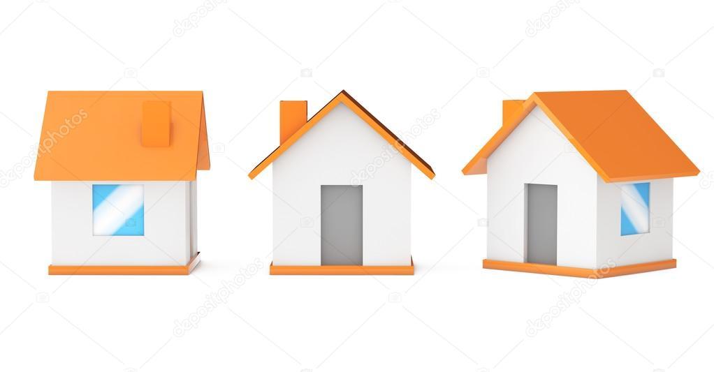 Casas peque as simples dibujos animados render 3d fotos for Imagenes de casas 3d