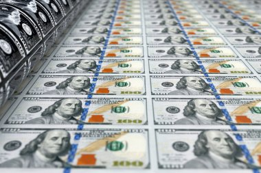 Printing Money 100 Dollar Bills. 3d Rendering