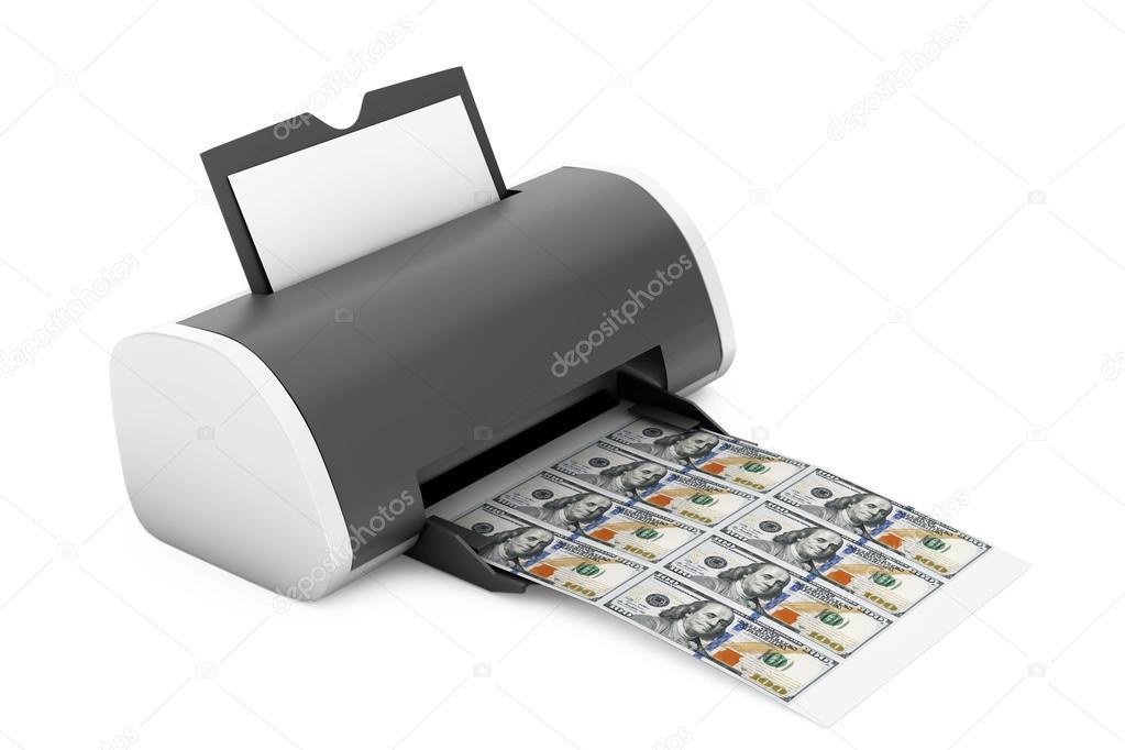 Desktop Home Printer Printed Money  3d Rendering — Stock