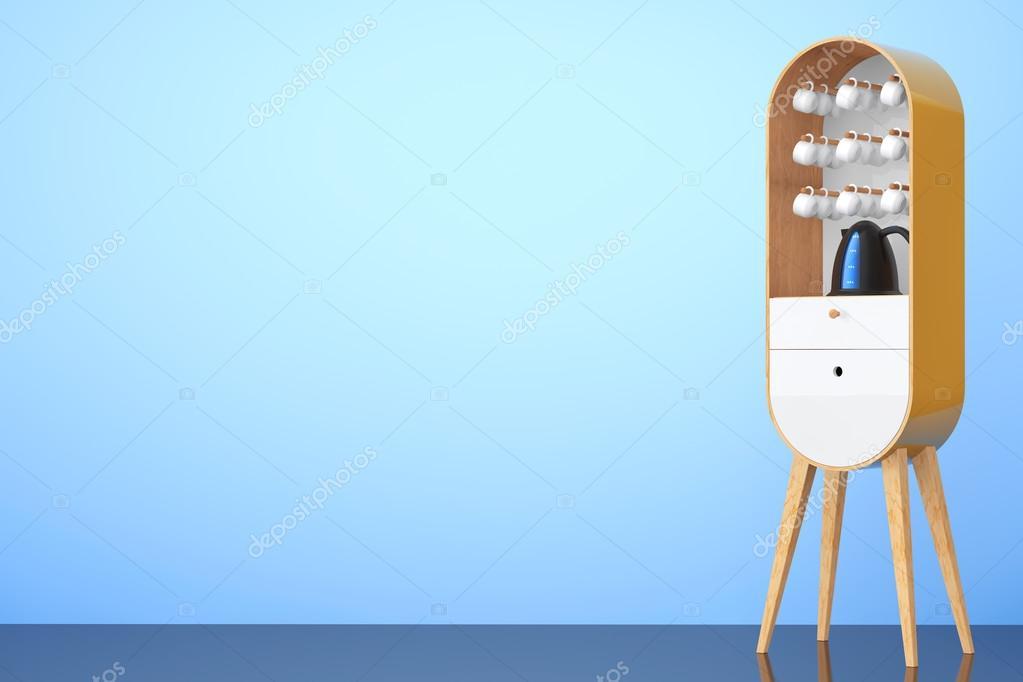 Vintage Möbel aus Holz Küche mit Wasserkocher und Tassen. 3D ...