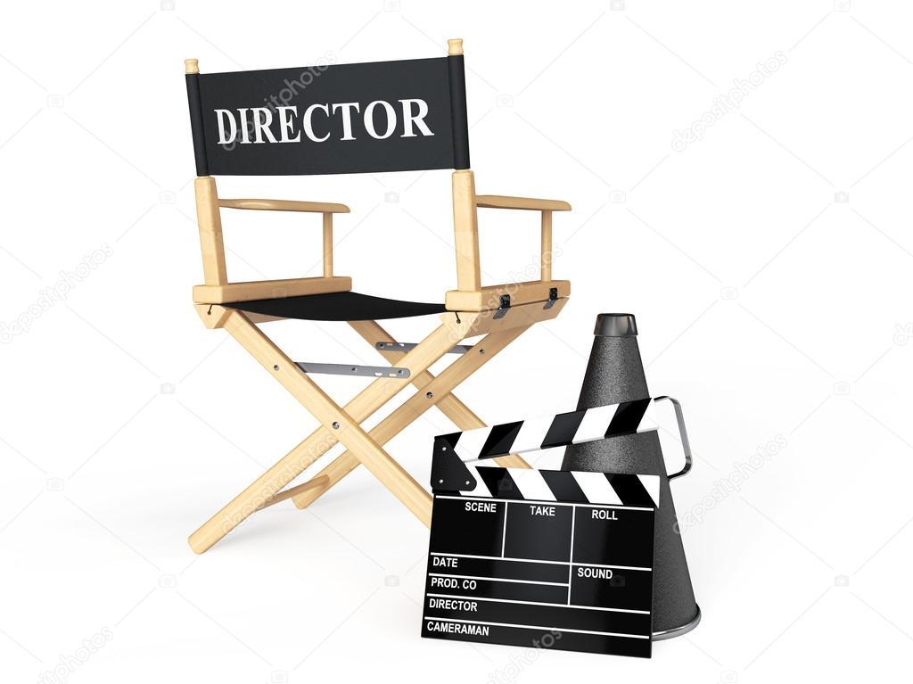 Chaise réalisateur, film Clapper et mégaphone — Photographie doomu ...