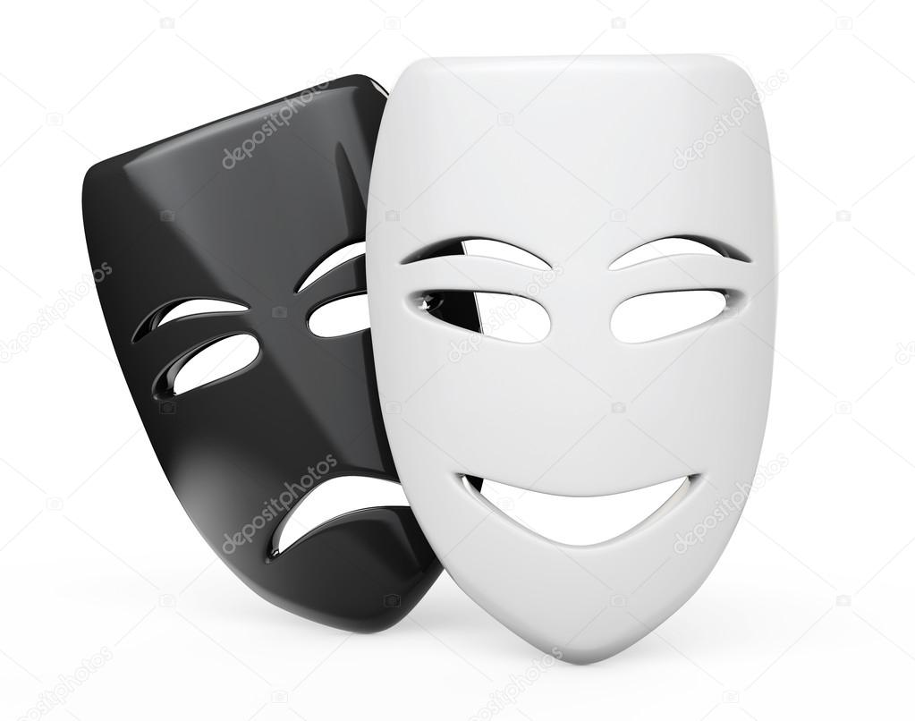 máscaras de teatro trágico cómica máscaras de sad e sorriso stock