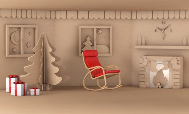 Christmas tree in home living room with fire place 3d render