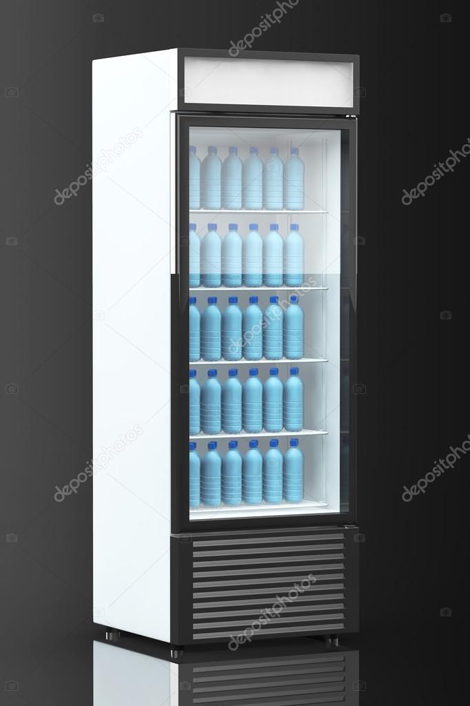 frigo boisson avec des bouteilles d 39 eau photographie. Black Bedroom Furniture Sets. Home Design Ideas