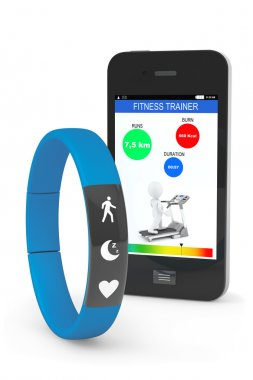 Blue Fitness Tracker with Mobile Phone