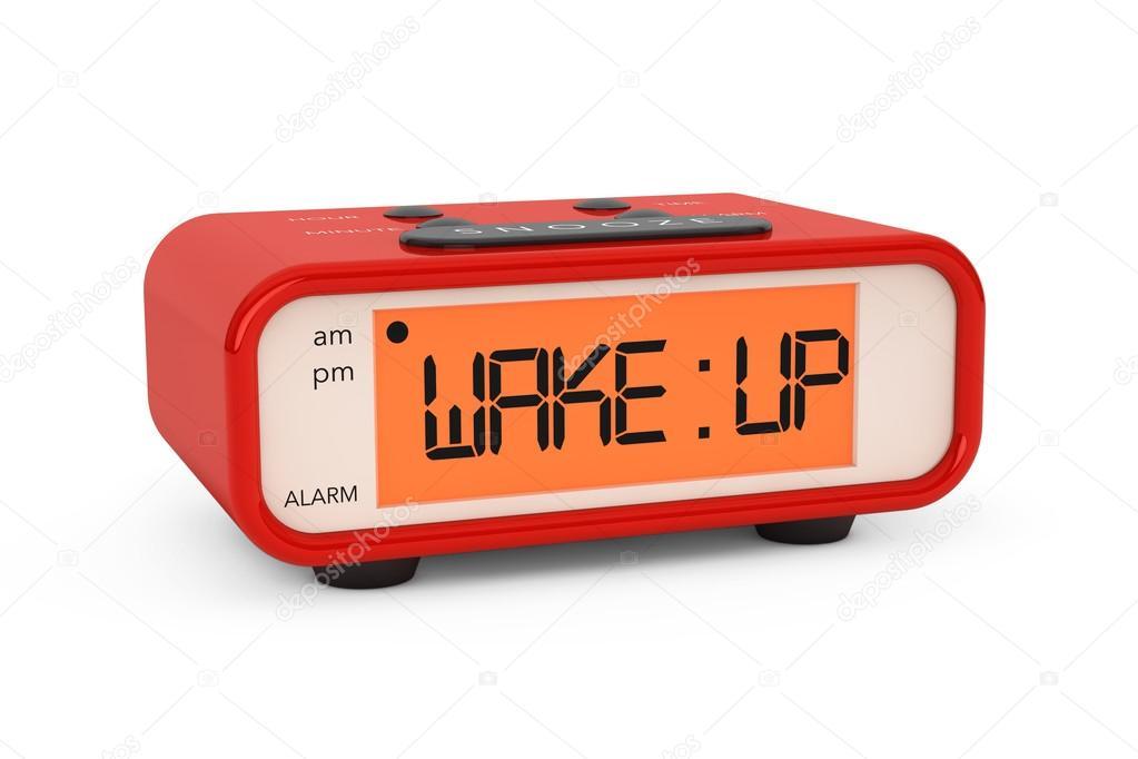 Moderner Wecker moderne digitale wecker mit weckservice zeichen stockfoto doomu