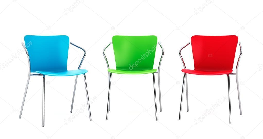 sedie di plastica colorate — Foto Stock © doomu #74023493