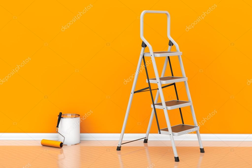 Painting of walls in a orange color concept. Paint can with roll ...