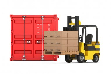 Transportation Concept. Forklift with Cardboard Boxes near Shipp