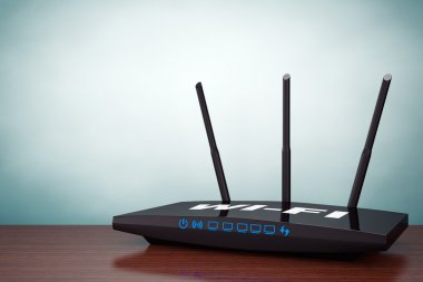 Old Style Photo. 3d Modern WiFi Router