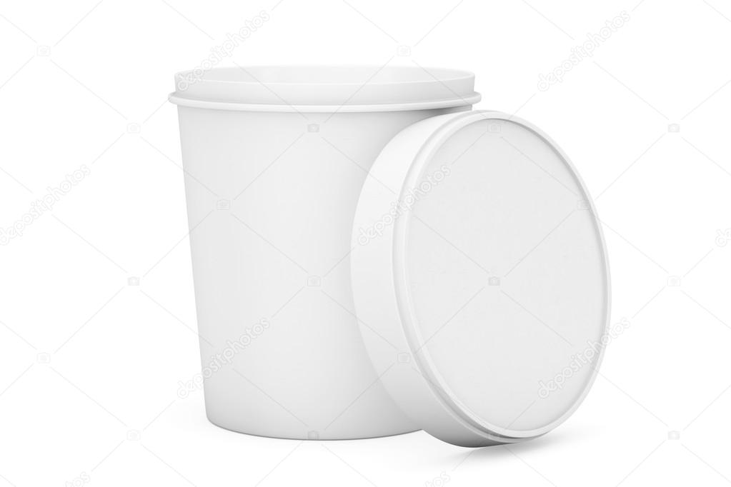 White Food Plastic Tub Bucket Container For Dessert, Yogurt, Ice ...