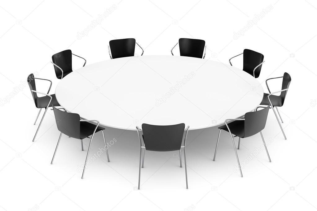 Sillas de oficina negras y Conferencia de mesa redonda — Fotos de ...